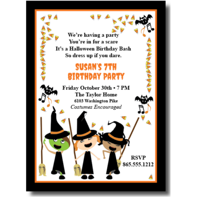 3 Little Witches Halloween Invite
