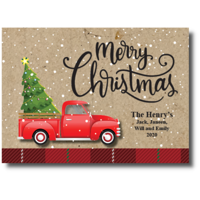 Vintage Red Christmas Truck Greeting Card